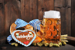 Bavarian Oktoberfest soft pretzel with beer royalty free stock images