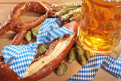 Bavarian Oktoberfest soft pretzel with beer Stock Image