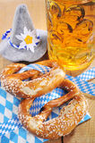 Bavarian Oktoberfest soft pretzel with beer Stock Photo