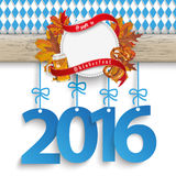 Bavarian Oktoberfest Wooden Banner Foliage 2016 Royalty Free Stock Photo