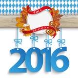 Bavarian Oktoberfest Wooden Banner Foliage 2016 Royalty Free Stock Photo