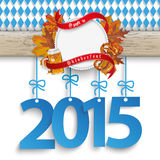 Bavarian Oktoberfest Wooden Banner Foliage 2015 Stock Photo