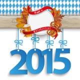 Bavarian Oktoberfest Wooden Banner Foliage 2015 Stock Photo