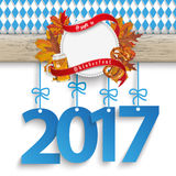 Bavarian Oktoberfest Wooden Banner Foliage 2017 Royalty Free Stock Photography