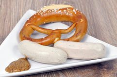 Bavarian pretezel with sausage Stock Image