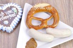 Bavarian pretezel with sausage Stock Image
