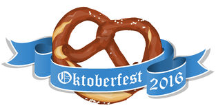 Bavarian pretzel with banner for Oktoberfest. Vector illustration of an brown bavarian pretzel with blue banner and text Oktoberfest 2016 isolated on white Stock Image