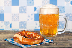 Bavarian pretzel and beer Royalty Free Stock Images
