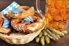 Bavarian pretzels with beer Stock Photos