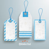 3 Bavarian Price Sticker. Bavarian sale stickers on the grey background. German text O´zapft is and Oktoberfest, translate on tap and Oktoberfest Stock Image