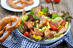 Bavarian salad. Pieces of fried sausage with pig spleen served on a colorful mixed salad Royalty Free Stock Images
