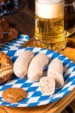 Bavarian sausage with pretzel, sweet mustard Royalty Free Stock Photo