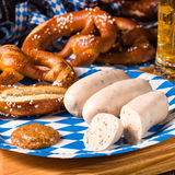 Bavarian sausage with pretzel, sweet mustard Stock Photos