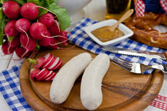 Bavarian sausages and beer Stock Photography