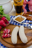 Bavarian sausages and beer Royalty Free Stock Photos