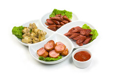 Bavarian sausages with ketchup Stock Photos