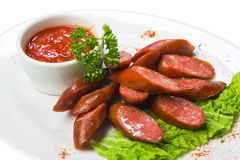 Bavarian sausages with ketchup Royalty Free Stock Photos