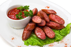 Bavarian sausages with ketchup Royalty Free Stock Photo