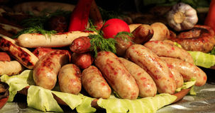 Bavarian sausages. Bavarian sausages on the table Stock Images