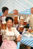 Bavarian Seniors. Bavarian Bosses sitting in a beer tent and having fun stock images