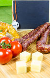 Bavarian snack with scoreboard and whistle Stock Image