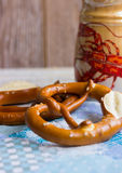 Bavarian snack to beer. Bavarian pretzels on a blue waffle towel Royalty Free Stock Photo