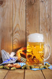 Bavarian soft pretzels with beer Royalty Free Stock Images