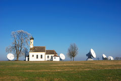 Bavarian tradition and high tech. Satellite communication site Stock Photos