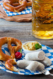 Bavarian veal sausage with mustard Royalty Free Stock Photo
