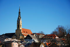 Bavarian village with church. Bad Tölz, Germany Royalty Free Stock Photo
