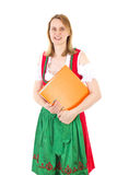 Bavarian waitress awaiting next guest Royalty Free Stock Photography