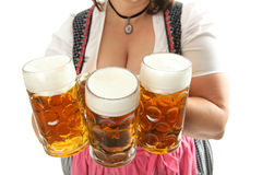 Bavarian Waitress with Oktoberfest Beer Stock Images
