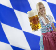 Bavarian Waitress with Oktoberfest Beer Stock Photo
