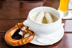 Bavarian Weisswurst, Pretzel and Beer Royalty Free Stock Image