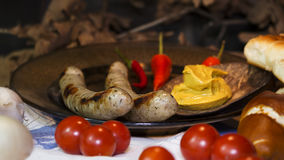 Bavarian White And Red Sausages With Mustard, Bavarian Buns and Royalty Free Stock Photography