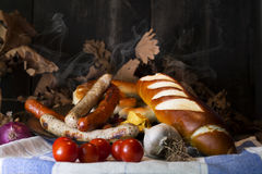 Bavarian White And Red Sausages With Mustard, Bavarian Buns and Stock Photography