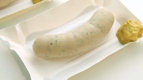 Bavarian white sausage and mustard stock video footage