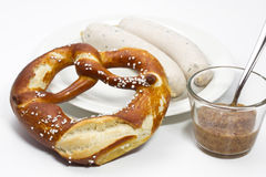 Bavarian white sausage, pretzel and mustard Stock Photography