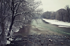Bavarian winter landscape, Isar river and snow Royalty Free Stock Photo