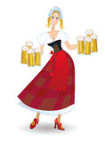 Bavarian woman with beer Royalty Free Stock Image