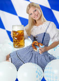 Bavarian Woman with Oktoberfest Beer Stock Photos