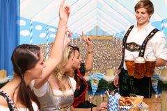 Bavarian women with beer Stock Photos