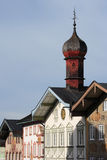 Bavarian wooden steeple and facades Royalty Free Stock Images