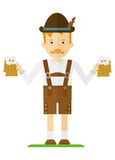 Bavarian young mustached waiter Stock Photos