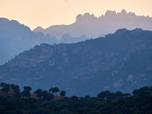 Bavella mountains. The Bavella mountain range in Corsica with its bizzare and rugged peaks Royalty Free Stock Images