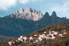 Bavella mountains and Zonza village, Corsica island, France Royalty Free Stock Photography