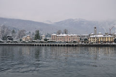 Baveno, Lago Maggiore в зиме стоковые фотографии rf