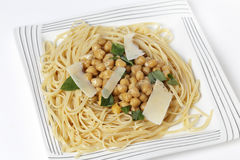 Bavette pasta with chickpeas in oil Royalty Free Stock Photos