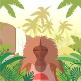 Baviaan op de Wildernisachtergrond stock illustratie