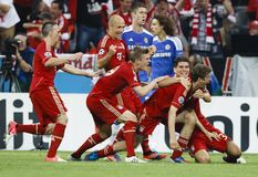 Baviera Munich contra o final do CL do UEFA de Chelsea FC Fotos de Stock Royalty Free
